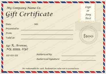 Postcard Themed Gift Certificate Template