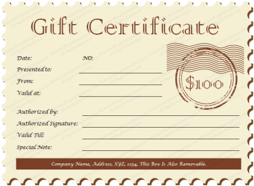 Postcard Ticket Gift Certificate Template