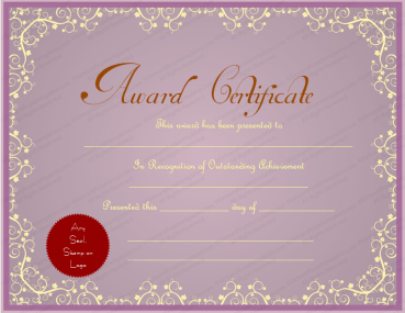 Purple Themed Award Certificate Template