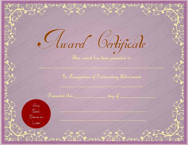 Purple Themed General Award Certificate Template