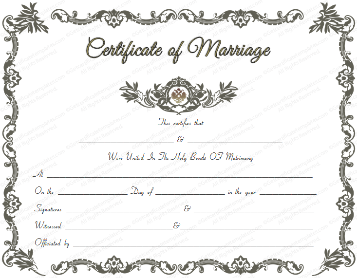 Royal Marriage Certificate Template - Get Certificate Templates