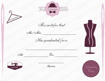 Sewing class graduation Certificate Template