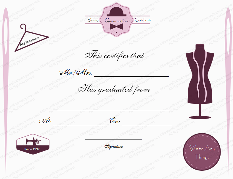 Sewing class graduation certificate template yadclub Choice Image