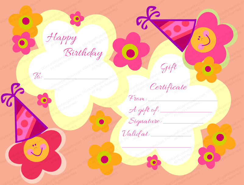 Star Flowers Birthday Gift Certificate Template For Girls