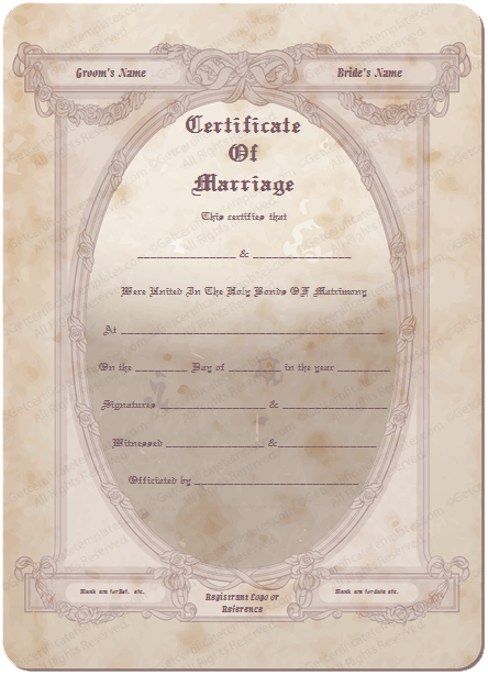 Traditional Frame Marriage Certificate Template