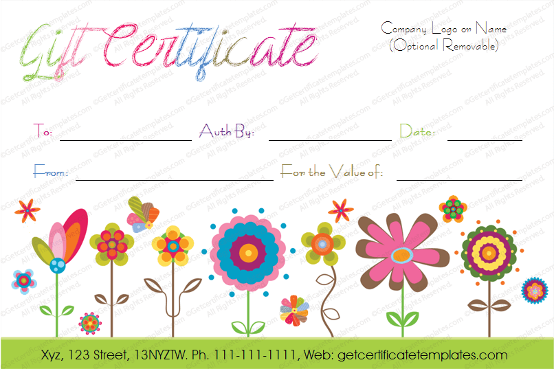printable artistic blossoms gift certificate template. Black Bedroom Furniture Sets. Home Design Ideas