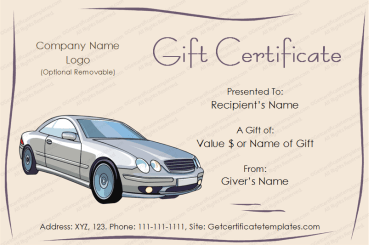 Autos Gift Certificate Template