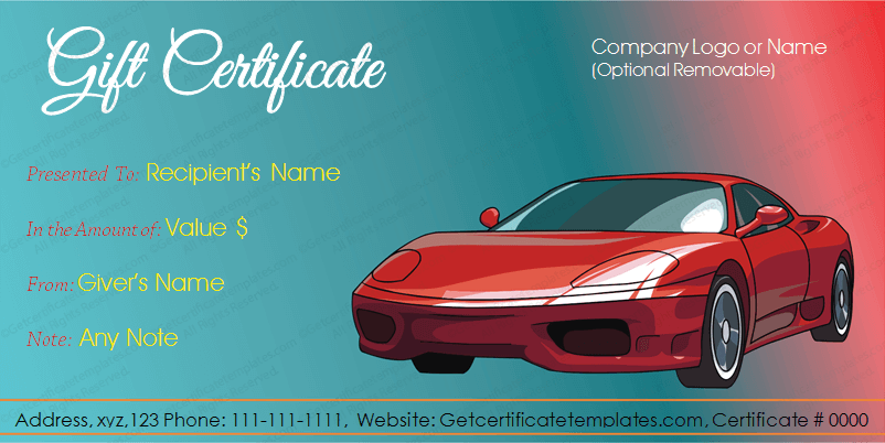 Car deal gift certificate template get certificate templates for Automotive gift certificate template