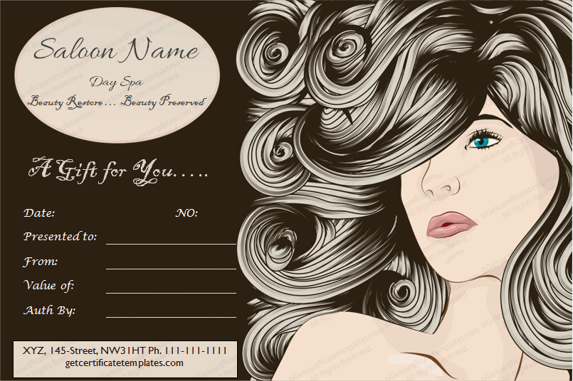 Chaps Saloon & Spa Gift Certificate Template