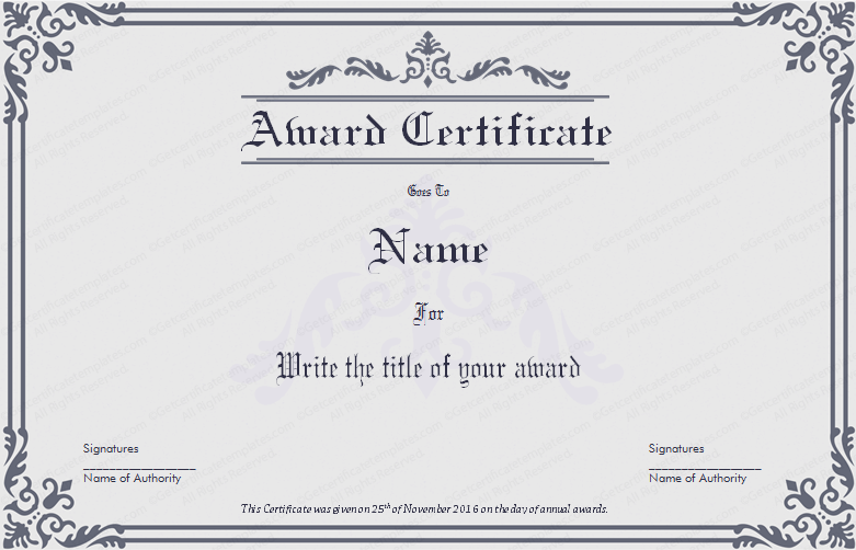 business award certificate template