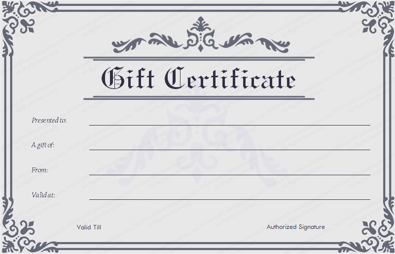 Formal frame gift certificate template for Gift certificate template google docs