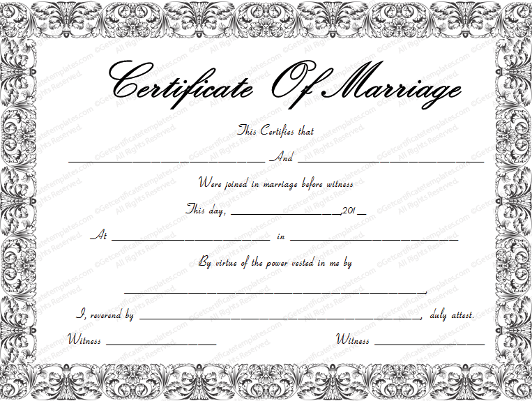 Download Options for Fountain Swirls Marriage Certificate Template :