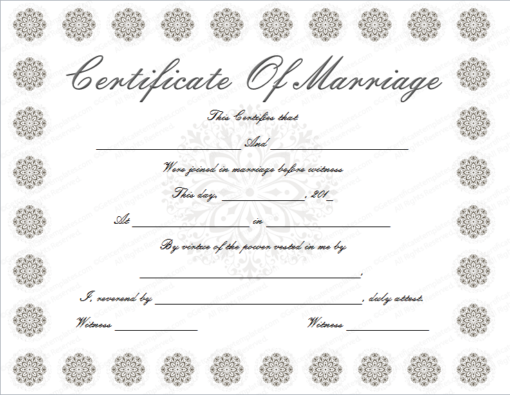 snow flower marriage certificate template
