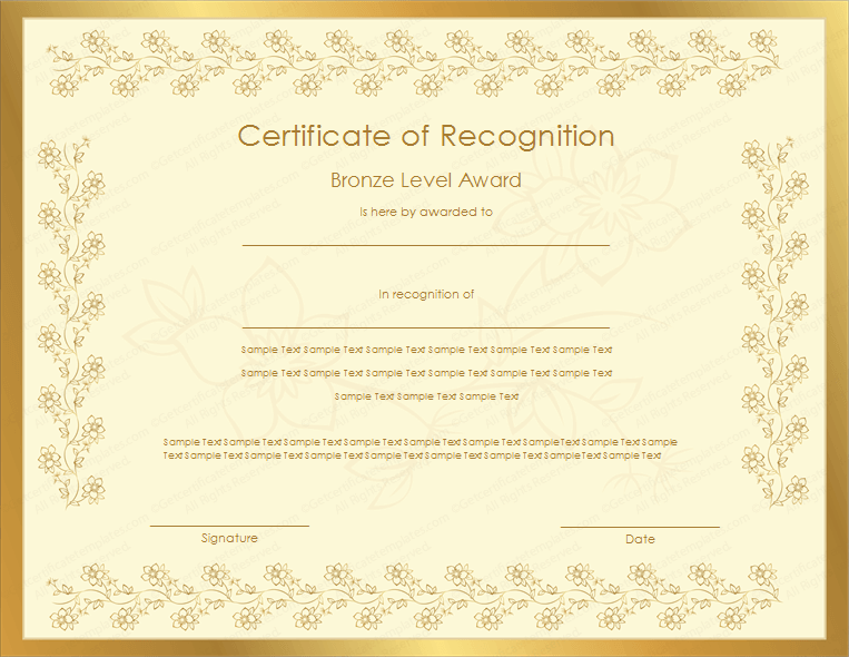 Bronze Level Certificate Of Recognition Template  Certificate Of Recognition Samples
