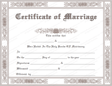 Classic Marriage Certificate Template