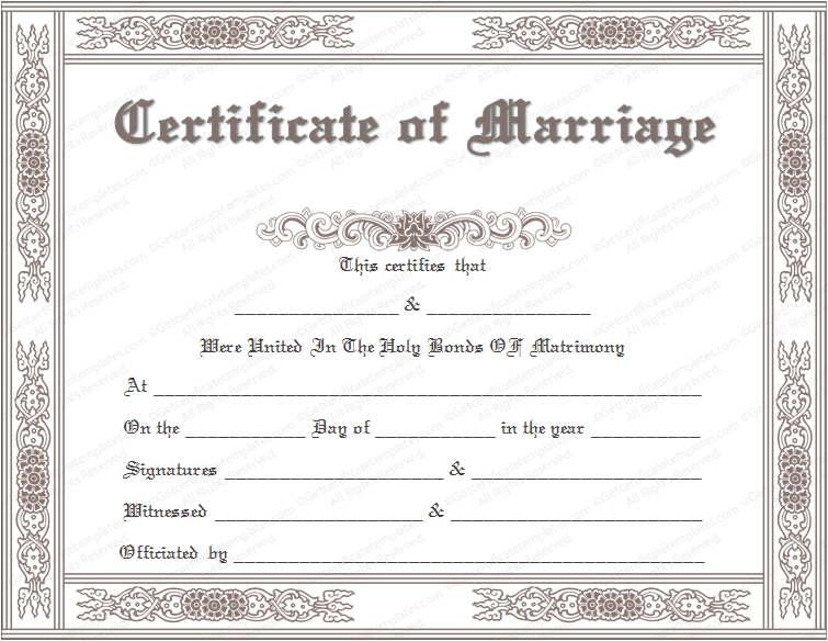 Marriage certificate template classic marriage certificate template yadclub