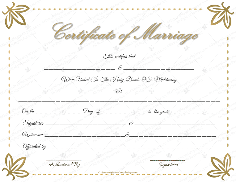 free marriage certificate template - dazzling flowers marriage certificate template