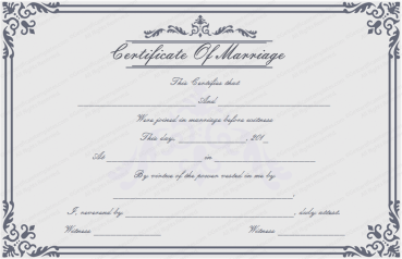 Dignified Marriage Certificate Template PR