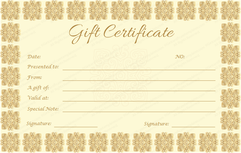 Gift Certificate Template (Golden Edition)  Editable Gift Certificate Template