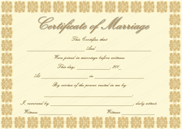 Elegant Marriage Certificate Template (Golden Edition)