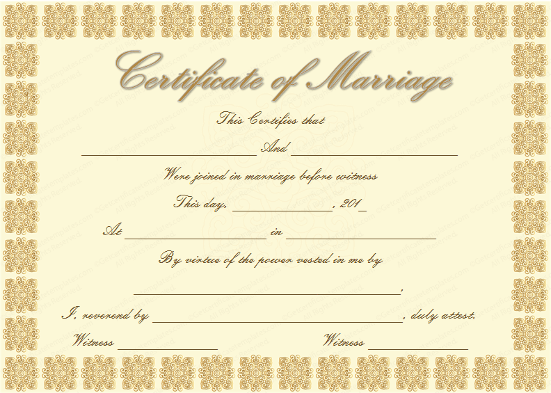 Elegant marriage certificate template golden edition for Commemorative certificate template