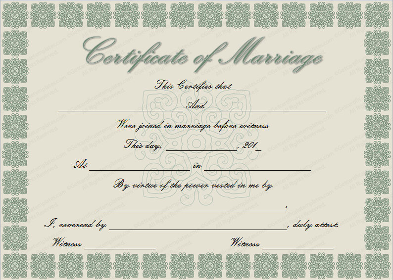 How To Get A Marriage License With Pictures: Elegant Marriage Certificate Template