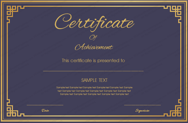 Royal Blue Certificate Of Achievement Template  Certificate Of Achievement Sample
