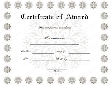Snow Flower Award Certificate Template