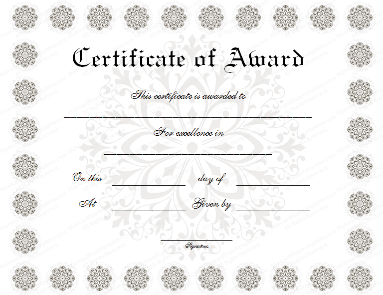Flower award certificate template snow flower award certificate template yadclub Images