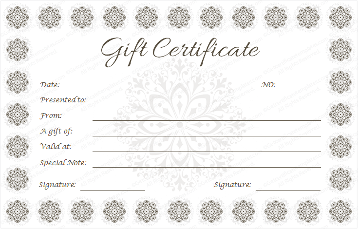 Snow Flowers Gift Certificate Template