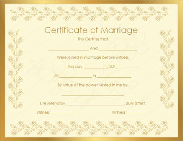 Bronze Certificate of Marriage Template