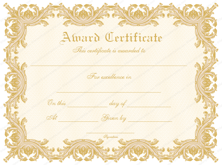 Doc1040729 Award Certificate Template Formal Award – Certificate Printable Templates