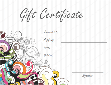 Jazzy Swirls Gift Certificate Template