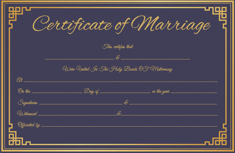 Blue Marriage Certificate Template – Marriage Certificate