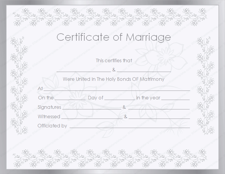 Silver Certificate Of Marriage Template
