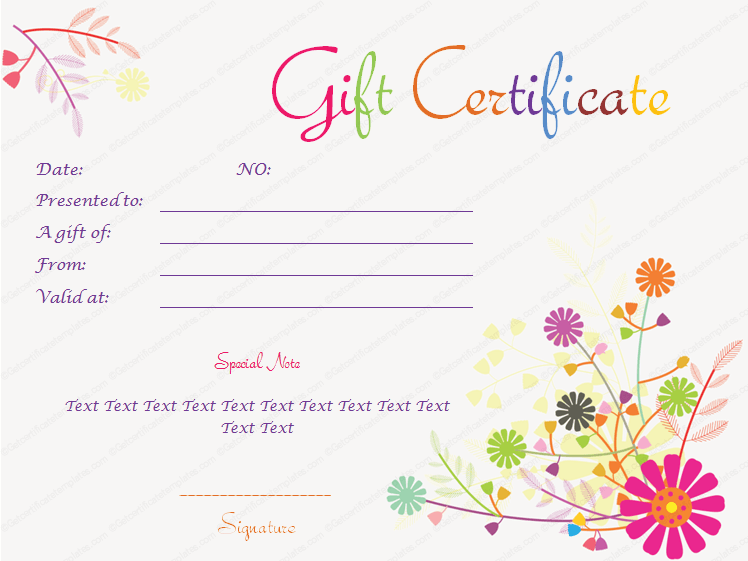 Splash Flowers Gift Certificate Template