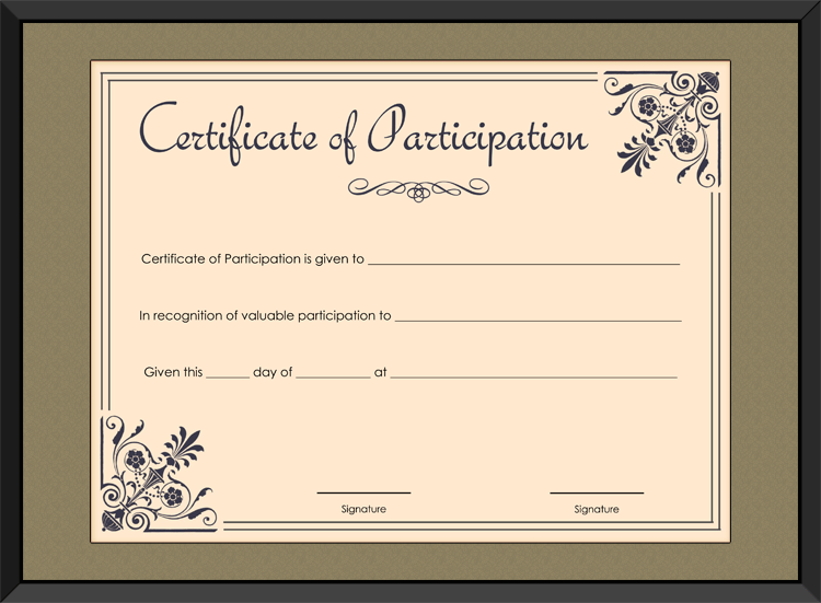 certificate of participation template  coral themed