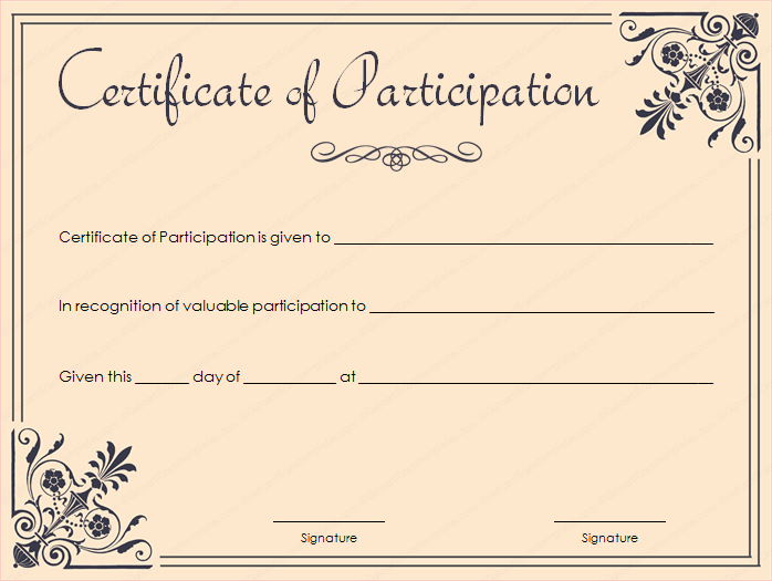Coral Certificate Of Participation Template  Printable Certificate Of Participation