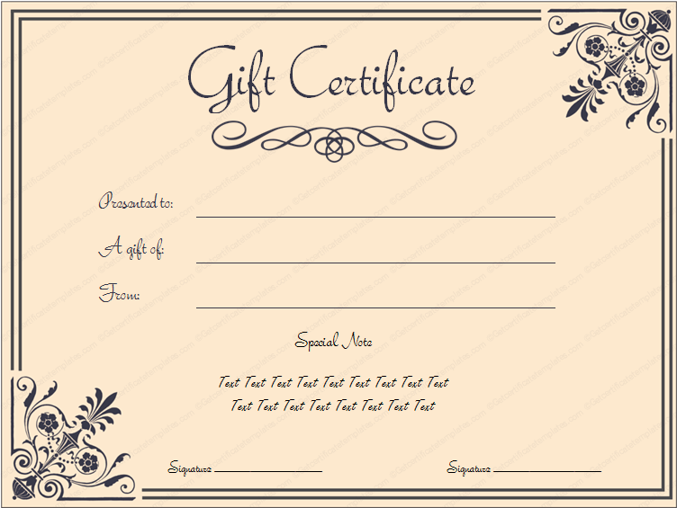 Printable coral core gift certificate template for Avon gift certificates templates free