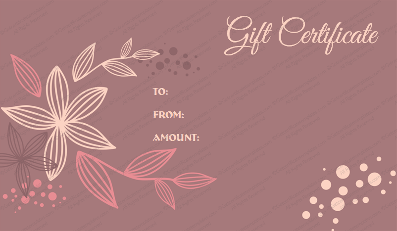 Flora Gift Certificate Template For Word