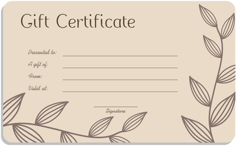 Leaf branches art gift certificate template for Free beauty gift voucher template