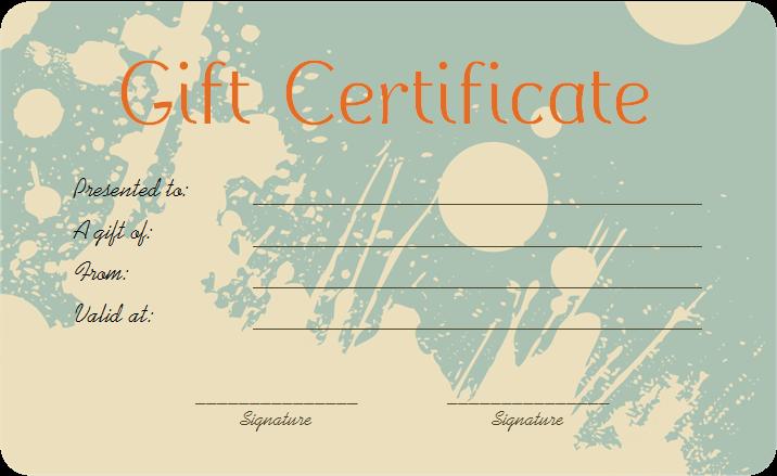 Splash Art Gift Certificate Template Get Certificate