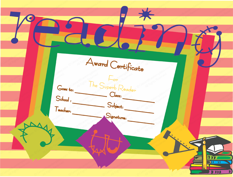 Reader award certificate template best reader award certificate template yadclub Gallery