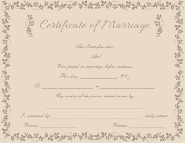 Choco Branches Themed Marriage Certificate Template
