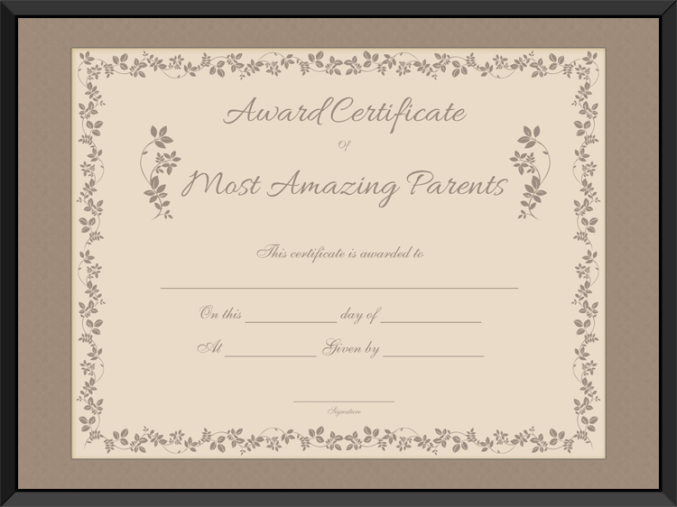 most amazing parents award certificate template
