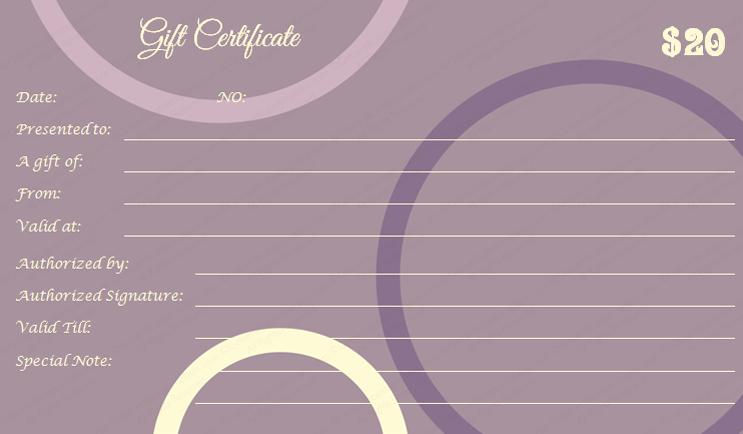 Purple Sun Gift Certificate Template