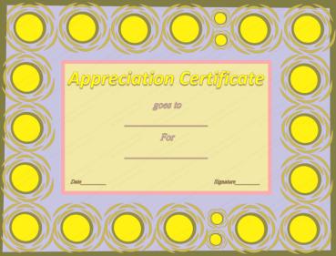 Sun Balls Frame Award Certificate Template