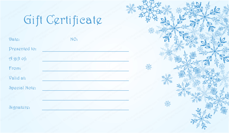 Blue snowflake christmas gift certificate template for Holiday gift certificate template free printable