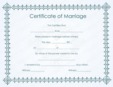 Bluish Formal Marriage Certificate Template