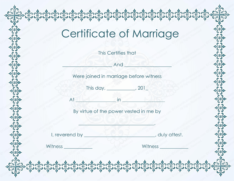 marriage certificate template - bluish formal marriage certificate template